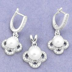 8.88cts natural white pearl topaz 925 silver pendant earrings set jewelry c25583