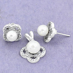 7.33cts natural white pearl topaz 925 silver pendant earrings set jewelry c25586