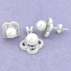 7.36cts natural white pearl topaz 925 silver pendant earrings set jewelry c25598