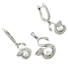 Natural white pearl topaz 925 sterling silver swan pendant earrings set c25446
