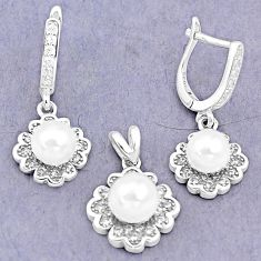 8.68cts natural white pearl topaz round 925 silver pendant earrings set c25482