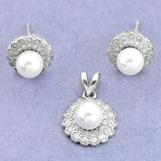 6.72cts natural white pearl topaz round 925 silver pendant earrings set c25571
