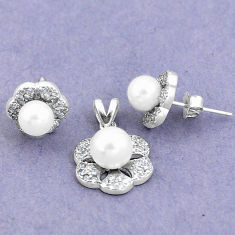7.29cts natural white pearl topaz round 925 silver pendant earrings set c25592
