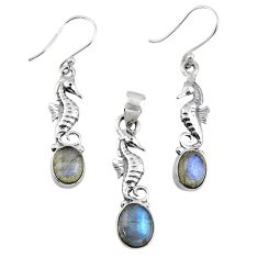 Silver 5.79cts natural blue labradorite seahorse pendant earrings set r55730
