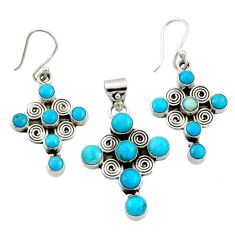 11.11cts sleeping beauty turquoise 925 silver cross pendant earrings set d44505