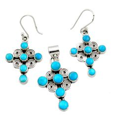 11.38cts sleeping beauty turquoise 925 silver cross pendant earrings set d44506