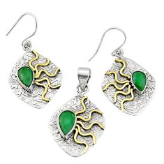 6.42cts victorian natural emerald silver two tone pendant earrings set r20993