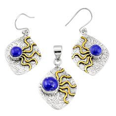 Victorian natural lapis lazuli 925 silver two tone pendant earrings set r20991