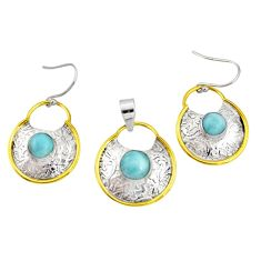 6.20cts victorian natural larimar silver two tone pendant earrings set r20957