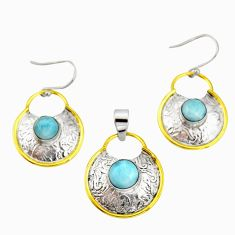 6.36cts victorian natural larimar silver two tone pendant earrings set r20959