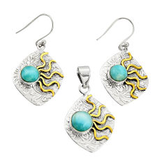 6.61cts victorian natural larimar silver two tone pendant earrings set r20964