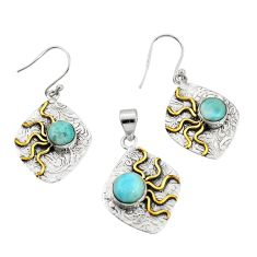 6.78cts victorian natural larimar silver two tone pendant earrings set r20965