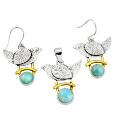 6.78cts victorian natural larimar silver two tone pendant earrings set r20966