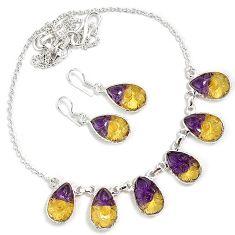 Multi color ametrine pear shape 925 sterling silver earrings necklace set h89517
