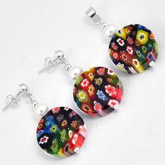 Multi color italian murano flower glass 925 silver pendant earrings set h46089