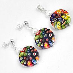 Multi color italian murano flower glass 925 silver pendant earrings set h46090