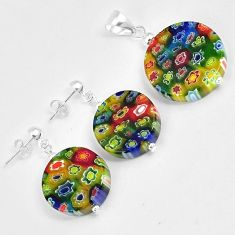 Multi color italian murano flower glass 925 silver pendant earrings set h46092