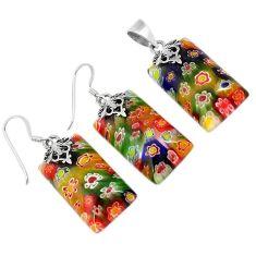 Multi color italian murano flower glass 925 silver pendant earrings set h54082