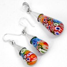 Multi color italian murano glass 925 silver drop pendant earrings set h46086