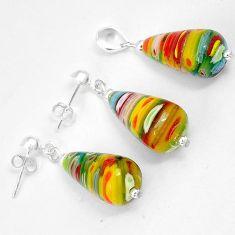 Multi color italian murano glass 925 silver drop pendant earrings set h46093