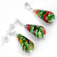 Multi color italian murano glass 925 silver drop pendant earrings set h46094
