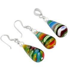 Multicolor italian murano glass 925 sterling silver pendant earrings set h54087