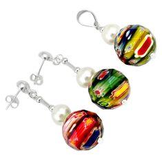 Multicolor italian murano glass round 925 silver pendant earrings set h54099