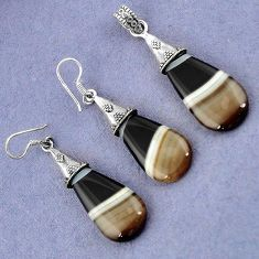 NATURAL BLACK BOTSWANA AGATE 925 SILVER PENDANT EARRINGS SET JEWELRY H23391