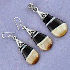 NATURAL BLACK BOTSWANA AGATE 925 STERLING SILVER PENDANT EARRINGS SET H23390