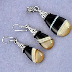 NATURAL BLACK BOTSWANA AGATE 925 STERLING SILVER PENDANT EARRINGS SET H23392