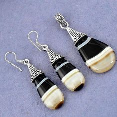 NATURAL BLACK BOTSWANA AGATE 925 STERLING SILVER PENDANT EARRINGS SET H23393