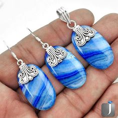 NATURAL BLUE BOTSWANA AGATE 925 SILVER PENDANT EARRINGS SET JEWELRY G56520