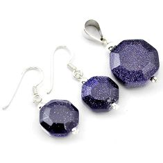 Natural blue goldstone round cut 925 sterling silver pendant earrings set h54116