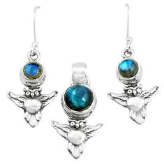 5.62cts natural blue labradorite 925 silver owl pendant earrings set p38505
