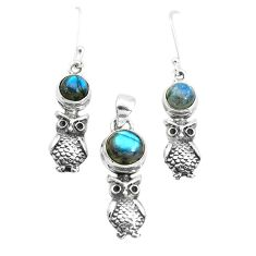 5.81cts natural blue labradorite 925 silver owl pendant earrings set p38517