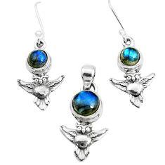 6.32cts natural blue labradorite 925 silver owl pendant earrings set p38529