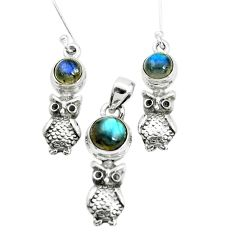 6.15cts natural blue labradorite 925 silver owl pendant earrings set p38532
