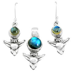 6.53cts natural blue labradorite 925 silver owl pendant earrings set p38607