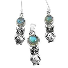 8.07cts natural blue labradorite 925 silver owl pendant earrings set p58339