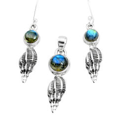 6.61cts natural blue labradorite 925 sterling silver pendant earrings set p38534