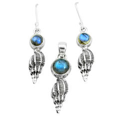 6.95cts natural blue labradorite 925 sterling silver pendant earrings set p38575