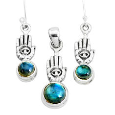 Natural blue labradorite silver hand of god hamsa pendant earrings set p38617
