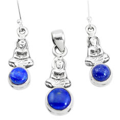 Natural blue lapis lazuli 925 silver buddha charm pendant earrings set p38558