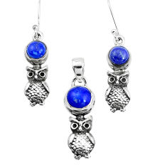 6.15cts natural blue lapis lazuli 925 silver owl pendant earrings set p38515