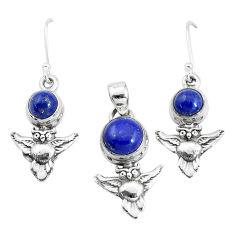 5.81cts natural blue lapis lazuli 925 silver owl pendant earrings set p38543