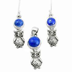 6.72cts natural blue lapis lazuli 925 silver owl pendant earrings set p38567