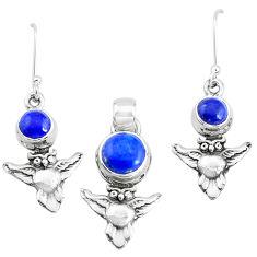 6.73cts natural blue lapis lazuli 925 silver owl pendant earrings set p38633