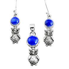 6.42cts natural blue lapis lazuli 925 silver owl pendant earrings set p38658
