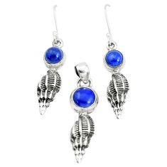 6.78cts natural blue lapis lazuli 925 silver pendant earrings set p38579