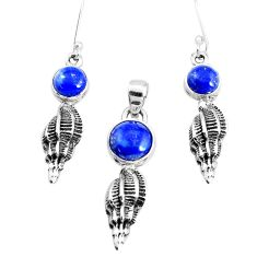 6.95cts natural blue lapis lazuli 925 silver pendant earrings set p38626